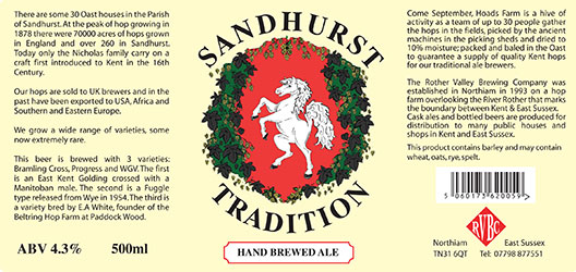 Rother Valley Brewing Company Bottled Sandhurst Tradition